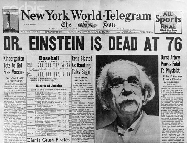 newspaper headline announcing death of albert einstein vinaire s blog
