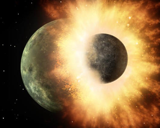 This artist's animation shows a celestial body about the size of our moon slamming at great speed into a body the size of Mercury.